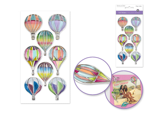 HOT AIR BALLOON FOIL SPARKLE STICKERS - Unusual Finds Discount Store