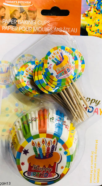 BIRTHDAY PAPER BAKING CUPS & PICKS SET - Unusual Finds Discount Store