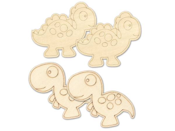 WOOD CUT OUT LASER ETCH DINOSAURS 4pk - Unusual Finds Discount Store