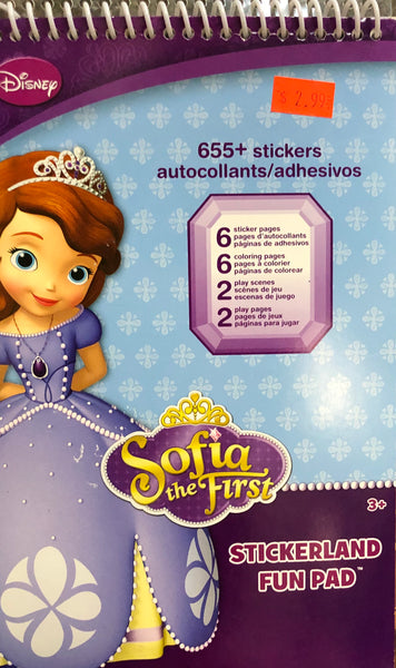SOPHIA THE FIRST STICKERLAND PAD - Unusual Finds Discount Store