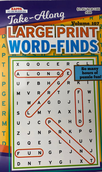 TAKE-ALONG LARGE PRINT WORD FIND PUZZLE BOOK. VOL 107 - Unusual Finds Discount Store