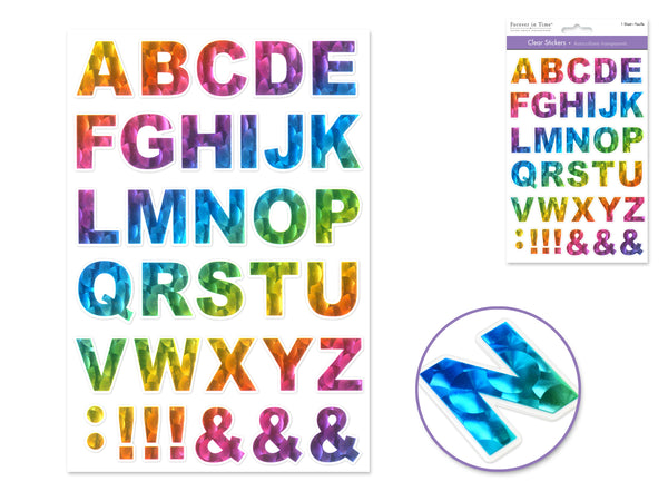 "RAINBOW LETTERS CLEAR WITH FOIL STICKERS1 1/8"" - Unusual Finds Discount Store"
