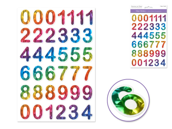 "RAINBOW NUMBERS CLEAR WITH FOIL STICKERS1 1/8"" - Unusual Finds Discount Store"
