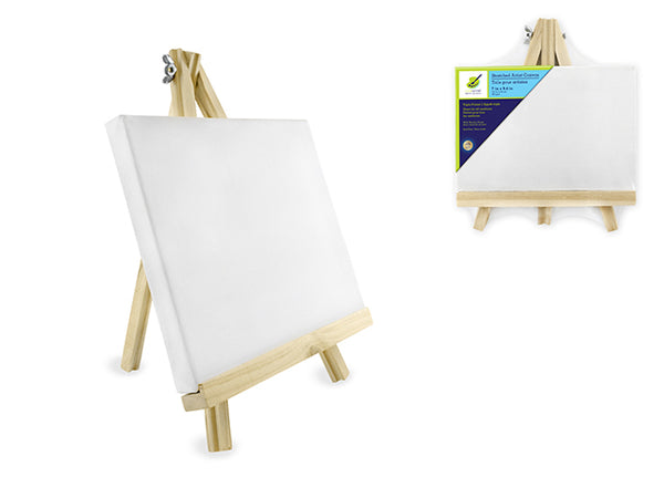 "Stretched Artist Canvas w/wooden Easel 7x9.4"" - Unusual Finds Discount Store"