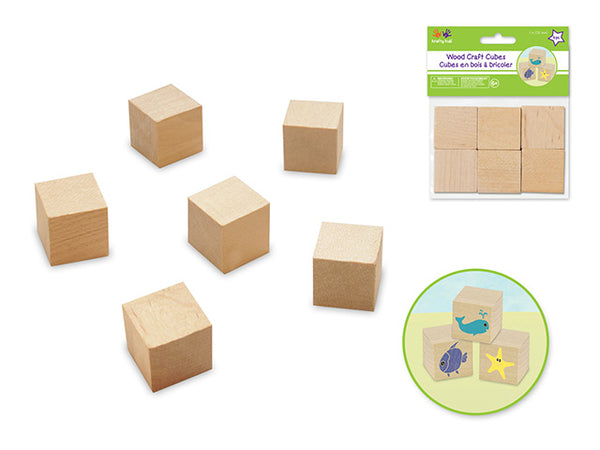 "NATURAL WOOD CRAFT CUBES 1"" 6pc - Unusual Finds Discount Store"