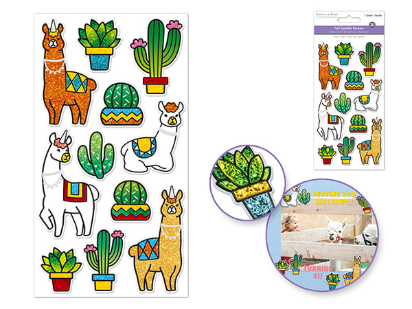 LLAMA FOIL SPARKLE STICKERS - Unusual Finds Discount Store