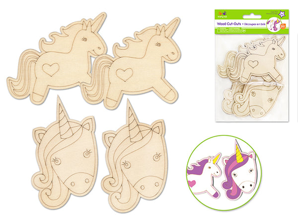 WOOD CUT OUT LASER ETCH UNICORN 4pk - Unusual Finds Discount Store