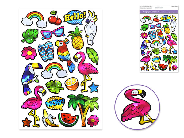 FLAMINGO HOLOGRAPHIC STICKERS - Unusual Finds Discount Store
