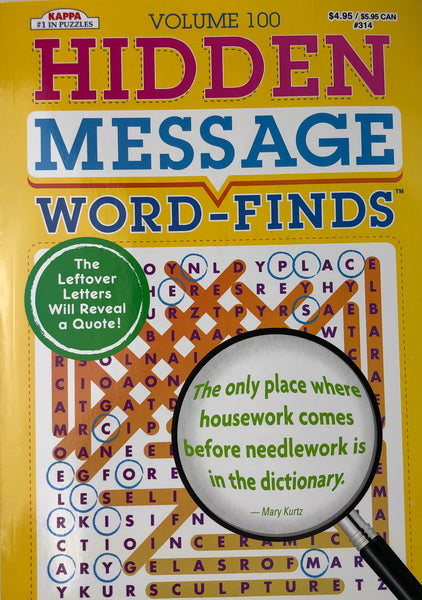 HIDDEN MESSAGE WORD FIND VOLUME 100 - Unusual Finds Discount Store