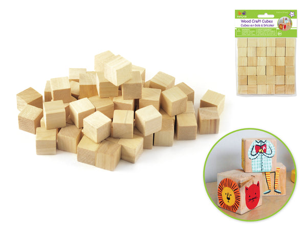 NATURAL WOOD CRAFT CUBES 15mm 35pc - Unusual Finds Discount Store