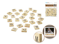 NATURAL WOOD LETTER TILES 26pk - Unusual Finds Discount Store