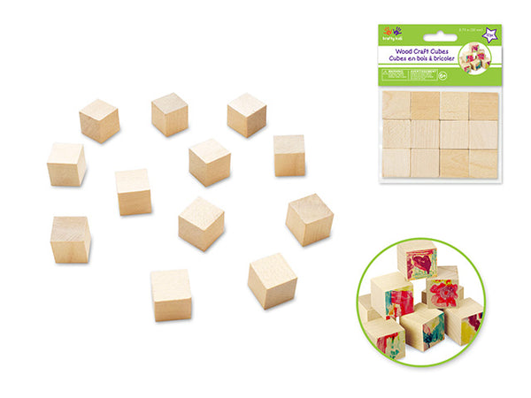 NATURAL WOOD CRAFT CUBES 20mm 12pcs - Unusual Finds Discount Store