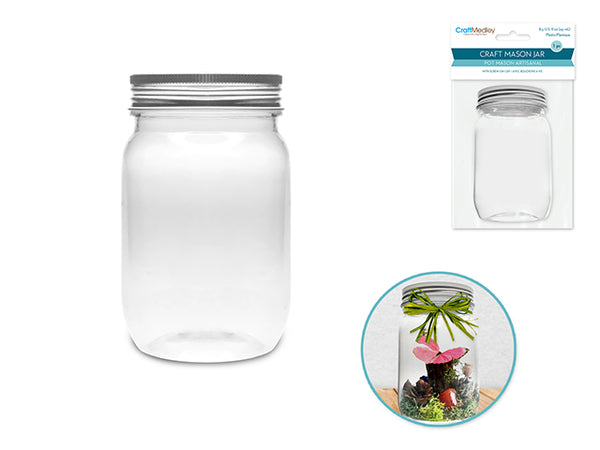 PLASTIC CRAFT POT MASON JAR 251ml - Unusual Finds Discount Store