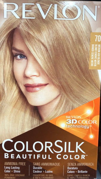 REVLON COLORSILK PERMANENT HAIR DYE 70 MEDIUM ASH  BLONDE - Unusual Finds Discount Store