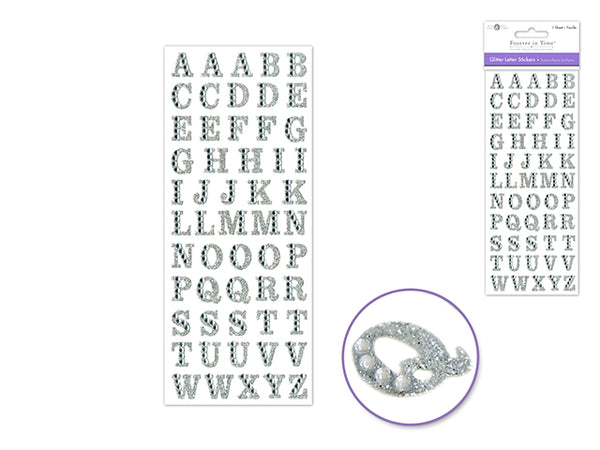 GLITTER LETTER STICKERS SILVER WITH GEMS - Unusual Finds Discount Store