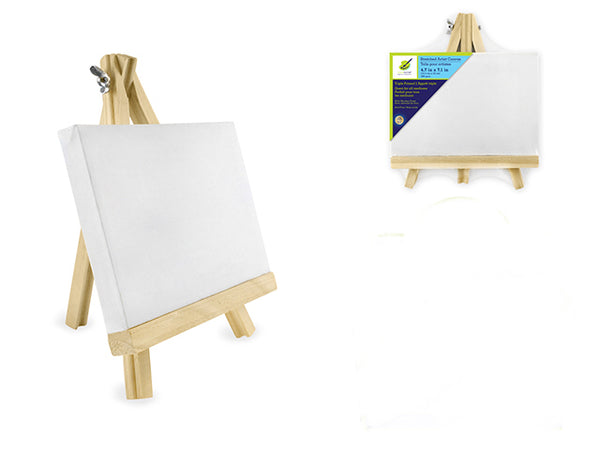 "STRETCHED ARTIST CANVAS W/WOODEN EASEL 4.7x7.1"" - Unusual Finds Discount Store"