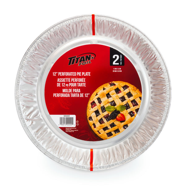 "12"" PERFORATED PIE PLATE ALUMINUM 2pk - Unusual Finds Discount Store"