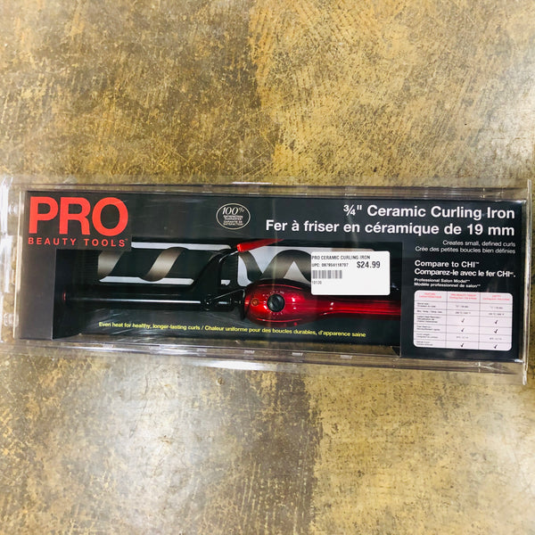 "PRO BEAUTY 3/4"" CERAMIC CURLING IRON - Unusual Finds Discount Store"