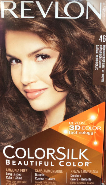 REVLON COLORSILK PERMANENT HAIR DYE 46 MEDIUM GOLDEN CHESTNUT BROWN - Unusual Finds Discount Store