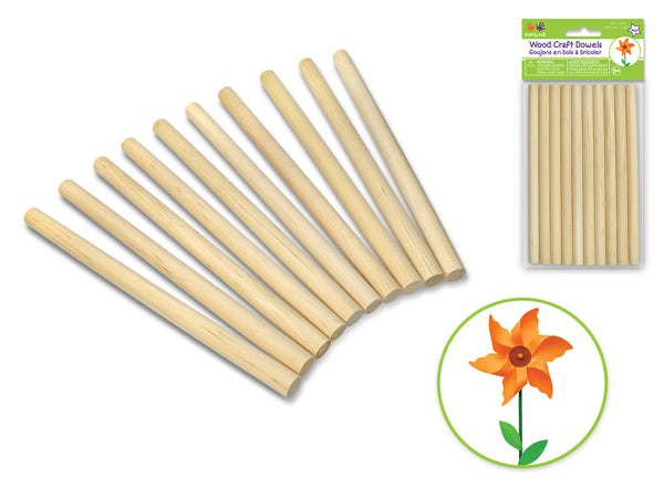 "WOOD CRAFT DOWELS 3/8"" x 6"" 10pcs - Unusual Finds Discount Store"