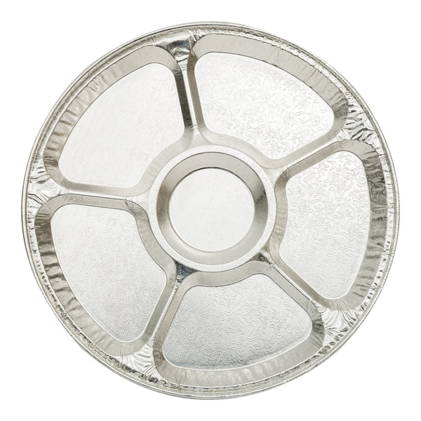 "12"" ROUND ALUMINUM DIVIDED SERVING TRAY - Unusual Finds Discount Store"