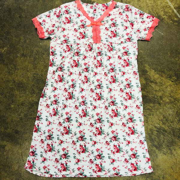 LADIES SHORT SLEEVE PAJAMA NIGHTY PINK - Unusual Finds Discount Store