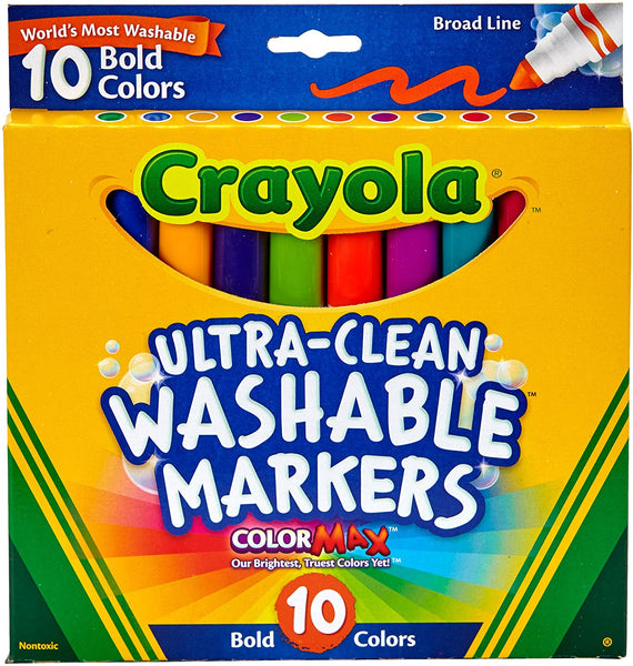 ULTRA CLEAN WASHABLE CRAYOLA MARKERS 10pk Bold Colors - Unusual Finds Discount Store