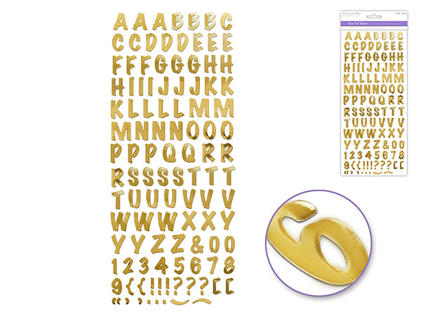 GOLD CAPS FONT CLEAR FOIL STICKERS - Unusual Finds Discount Store