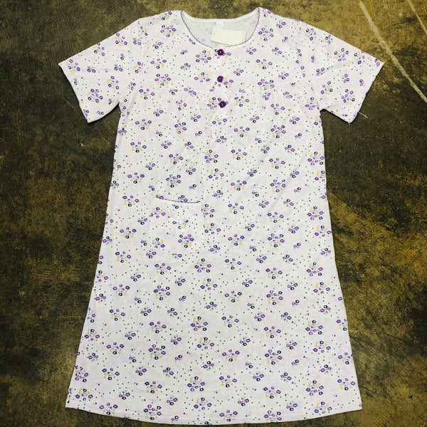 LADIES SHORT SLEEVE PAJAMA NIGHTY PURPLE - Unusual Finds Discount Store
