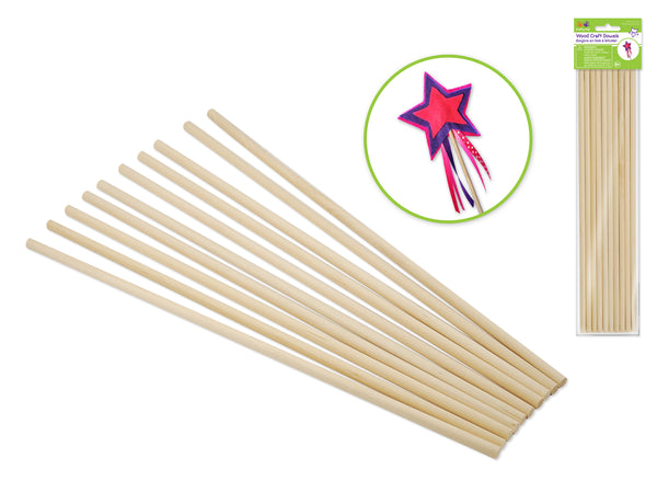 "WOOD CRAFT DOWELS 1/4"" x 12"" 10pc - Unusual Finds Discount Store"
