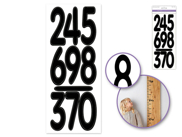 "NUMBERS BLACK CLEAR STICKERS  3.5"" - Unusual Finds Discount Store"
