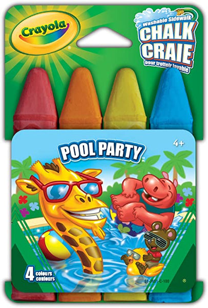 CRAYOLA pool party WASHABLE SIDEWALK CHALK-4PC - Unusual Finds Discount Store