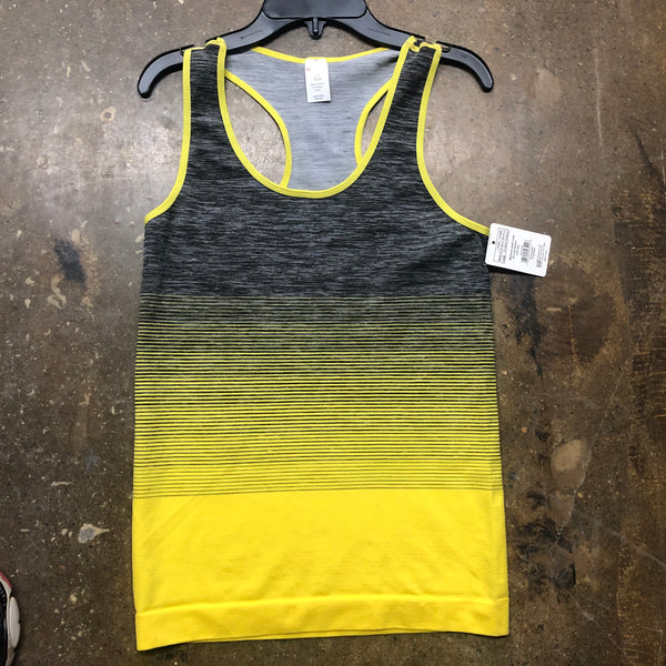 Spandex Racer Back Tanks top Yellow Grey - Unusual Finds Discount Store