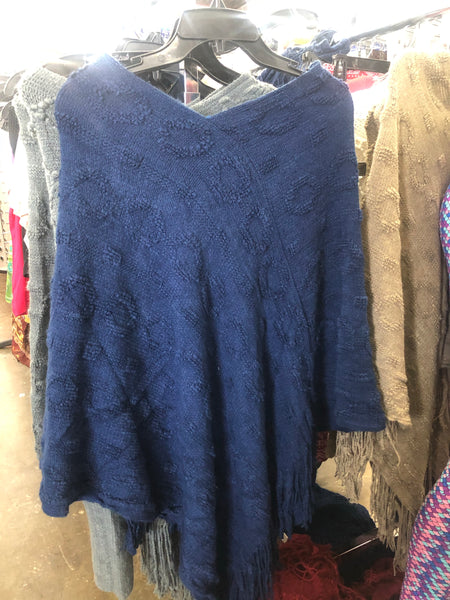 Poncho One Size Fits All- Blue - Unusual Finds Discount Store