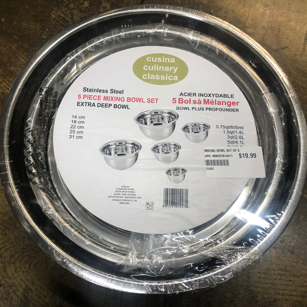 Stainless steel 5 pc mixing bowl - Unusual Finds Discount Store