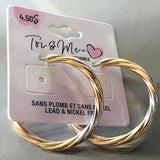 Pierced Earrings Twist Gold Silver Hoop Nickel & Lead Free - Unusual Finds Discount Store