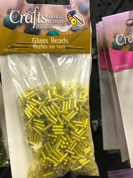 Glass Beads Bugle -Yellow - Unusual Finds Discount Store