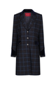 Demelza Blue/Tan Check Wool Coat