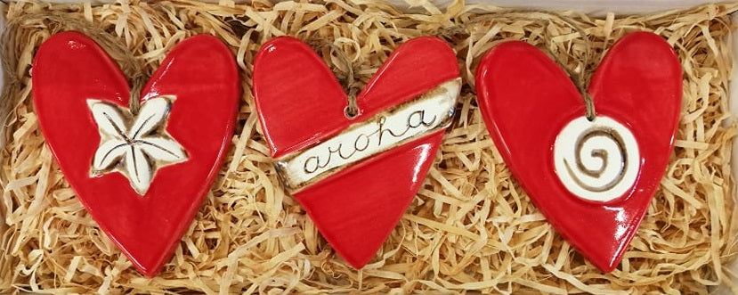 Set Of Three Red Ceramic Aroha Hearts