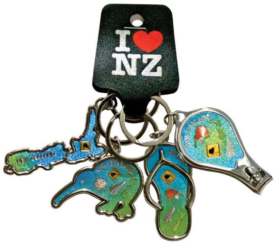 4 Pack NZ Icons Keyrings