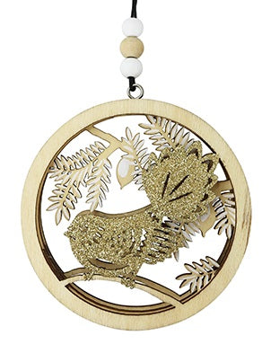 Christmas Decoration - Woodcut Fantail with Glitter