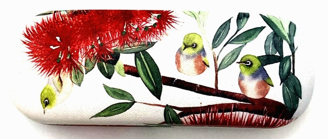 Glasses Case - Wax-eye and Pohutukawa