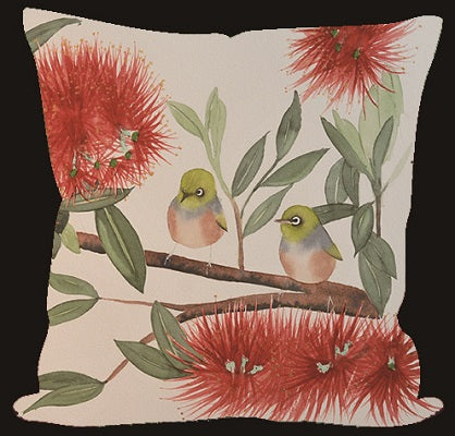 Cushion Cover - Wax-eye & Pohutukawa