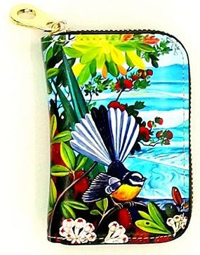 Card Holder Purse - Fantail & Pohutukawa