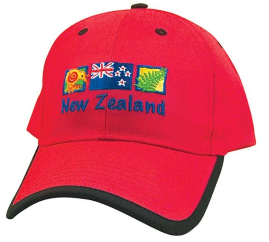 NZ Kiwi, Flag and Fern Red Adult Cap