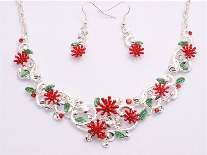 Pohutukawa Necklace And Earrings Set
