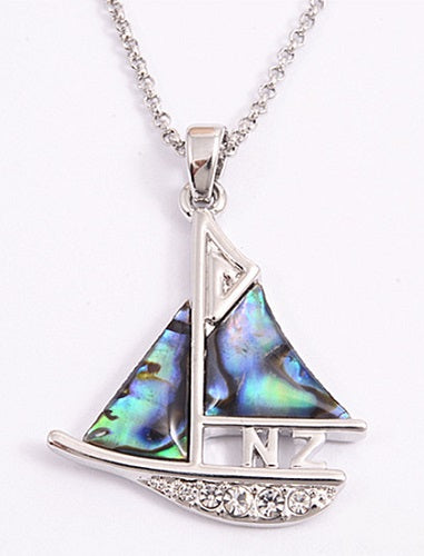 Paua and Silver Fern Sailing Boat Necklace - Rhodium Plated