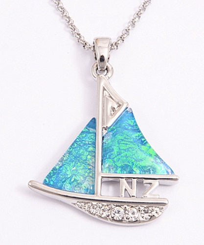 Resin and Silver Fern Sailing Boat Necklace - Rhodium Plated