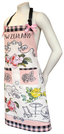 Apron Kiwis and Flowers of NZ Design - WITH FREE MATCHING TEA TOWEL!!
