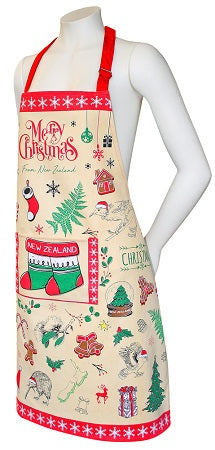 Apron NZ Christmas Design - WITH FREE MATCHING TEA TOWEL!!